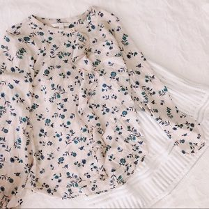 {Lauren Conrad} floral ruffle blouse, gold buttons